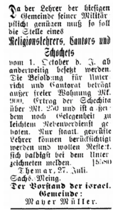 27 July 1900 Lehrer ad