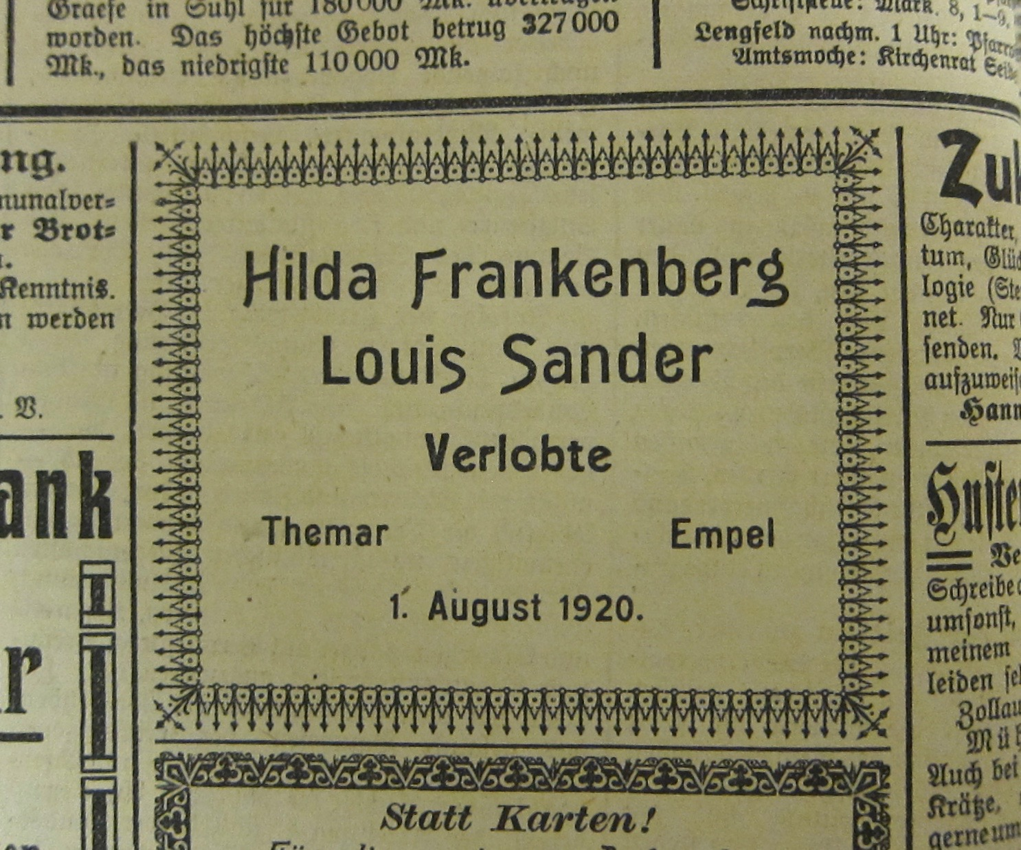 Die Familie Von Hilda Geb Frankenberg U Louis Sander Ihre Stimmen Leben Noch Judisches Leben In Themar
